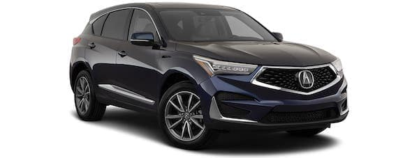 A black 2021 Acura RDX is angled right.
