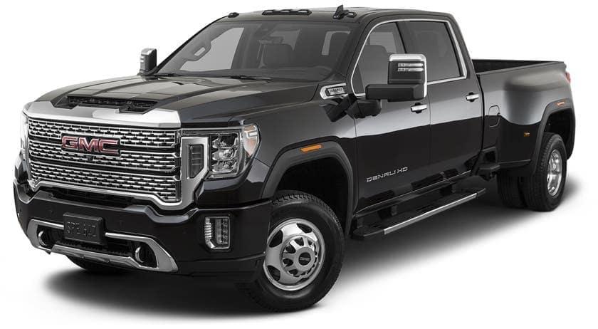 A black 2021 GMC Diesel truck, a Sierra 3500HD, is angled left.