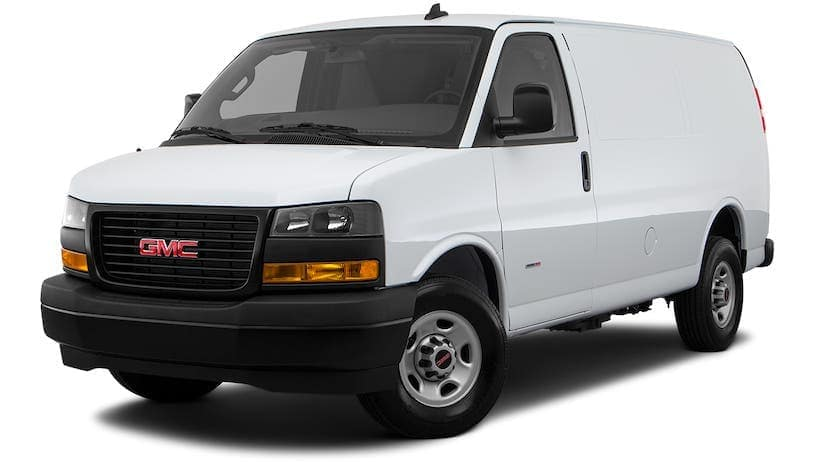 A white 2021 GMC Savana Cargo 2500 is angled left.