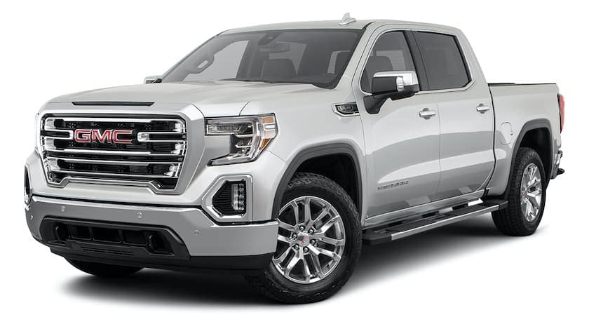 A 2021 GMC Sierra 1500 is angled left.