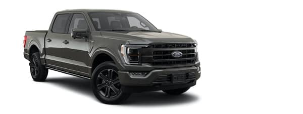 A dark grey 2021 Ford F-150 is angled right.