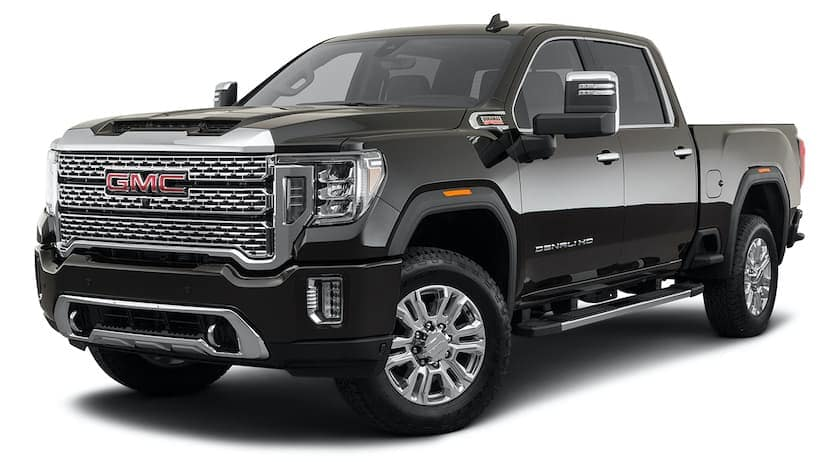 A 2021 GMC Sierra 2500 HD is angled left.