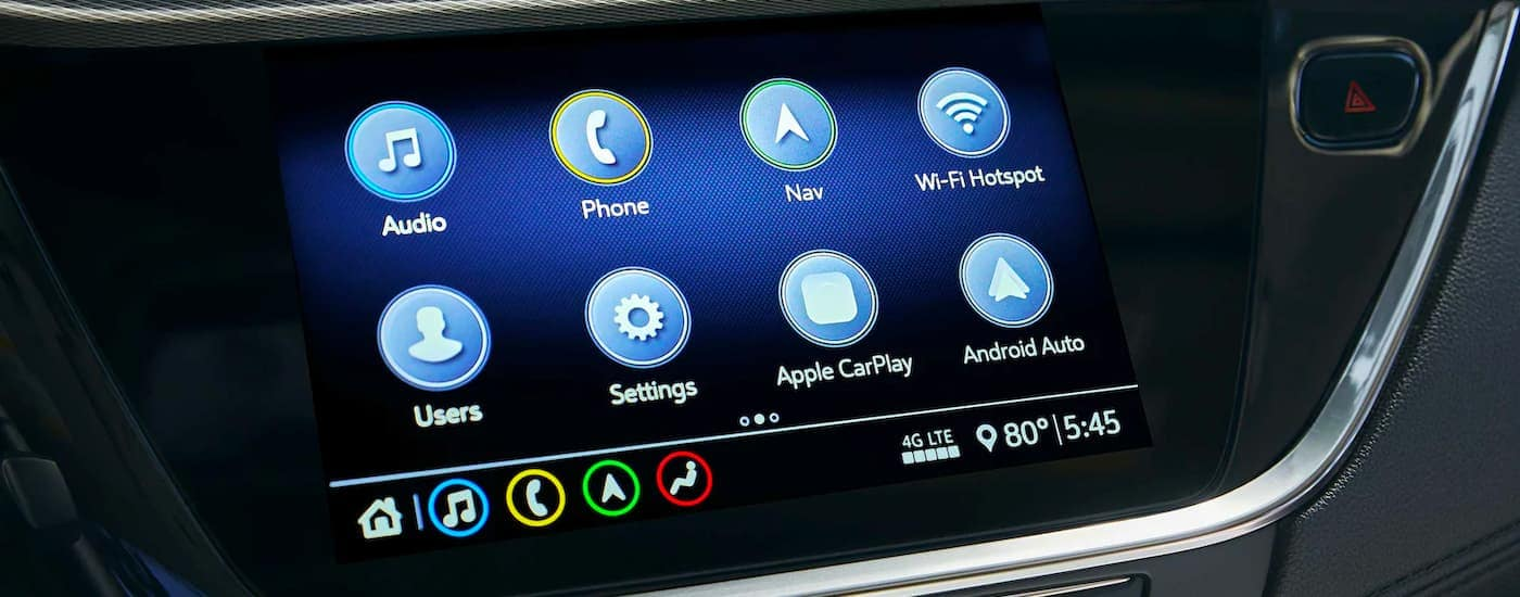 A close up shows the apps on the infotainment screen of a 2021 Buick Encore GX.