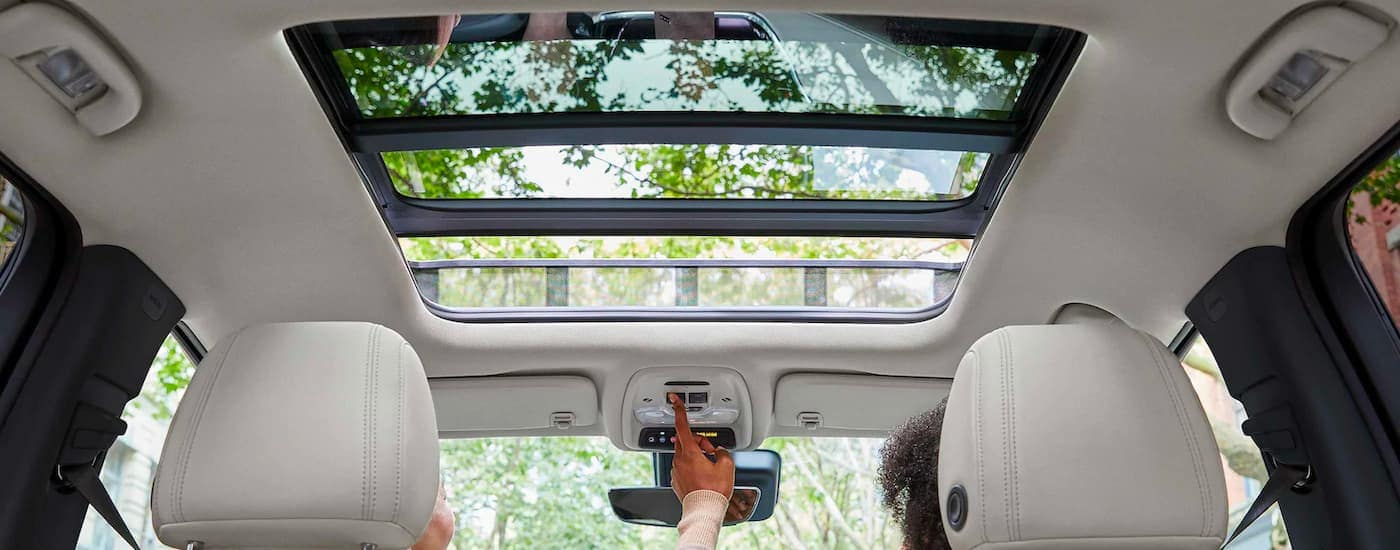 A moonroof is shown from a low angle on a 2021 Buick Encore GX.