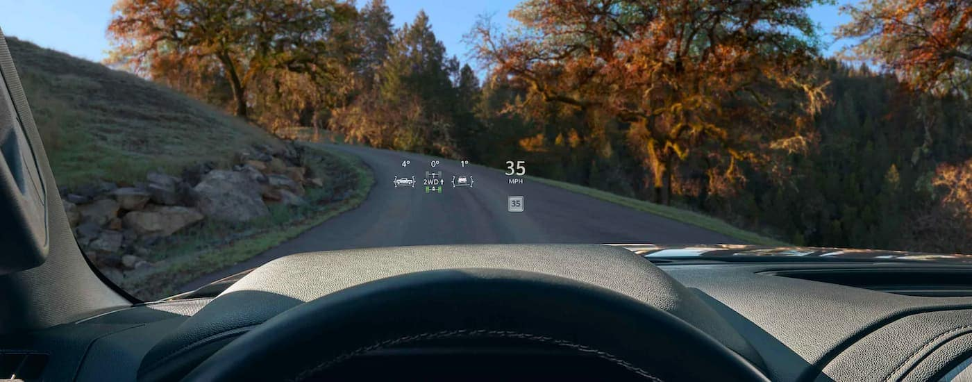 The head up display is shown on a 2021 GMC Sierra 3500HD.