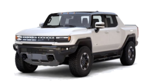A white 2022 GMC Hummer EV Truck is angled left.