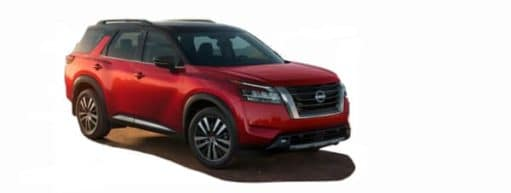 A red 2022 Nissan Pathfinder is angled right.