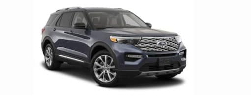 A dark blue 2021 Ford Explorer is angled right.