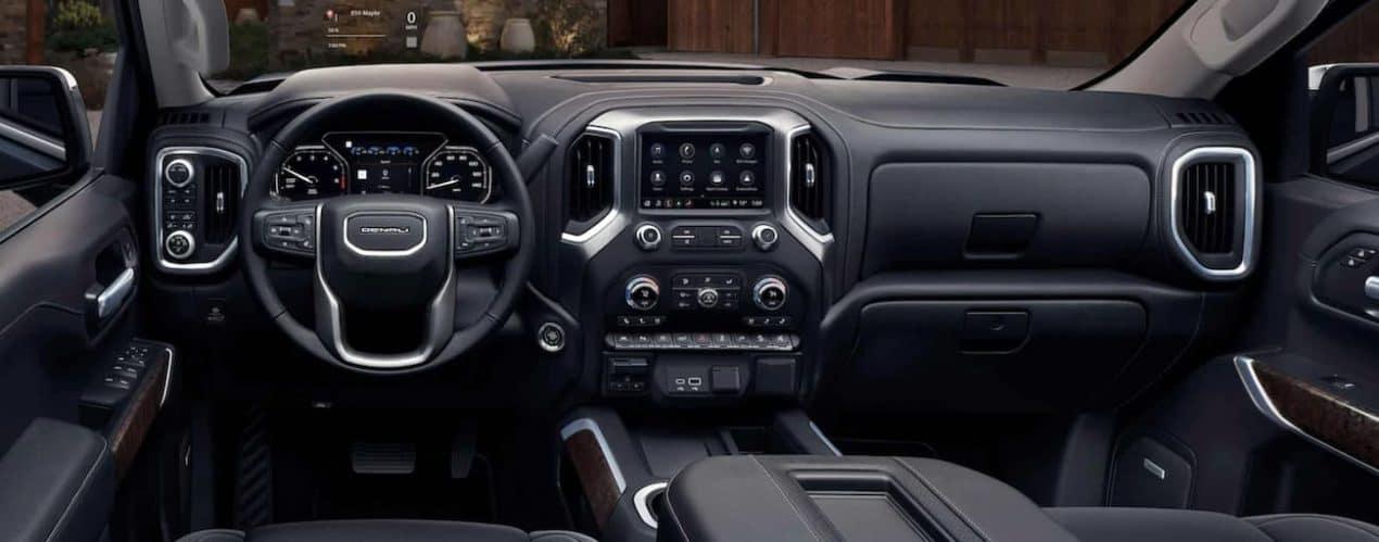The black interior in a 2021 GMC Sierra 1500 is shown.