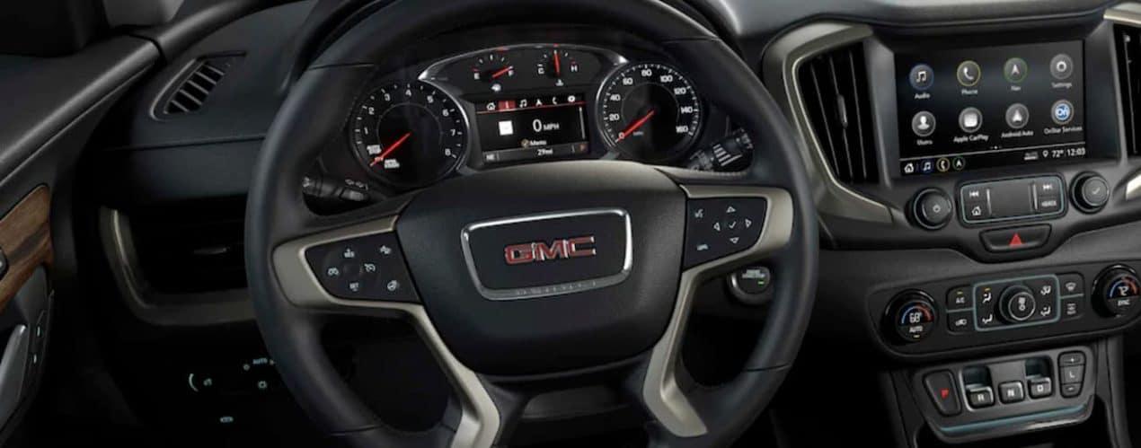 The steering wheel is shown in a 2021 GMC Terrain.
