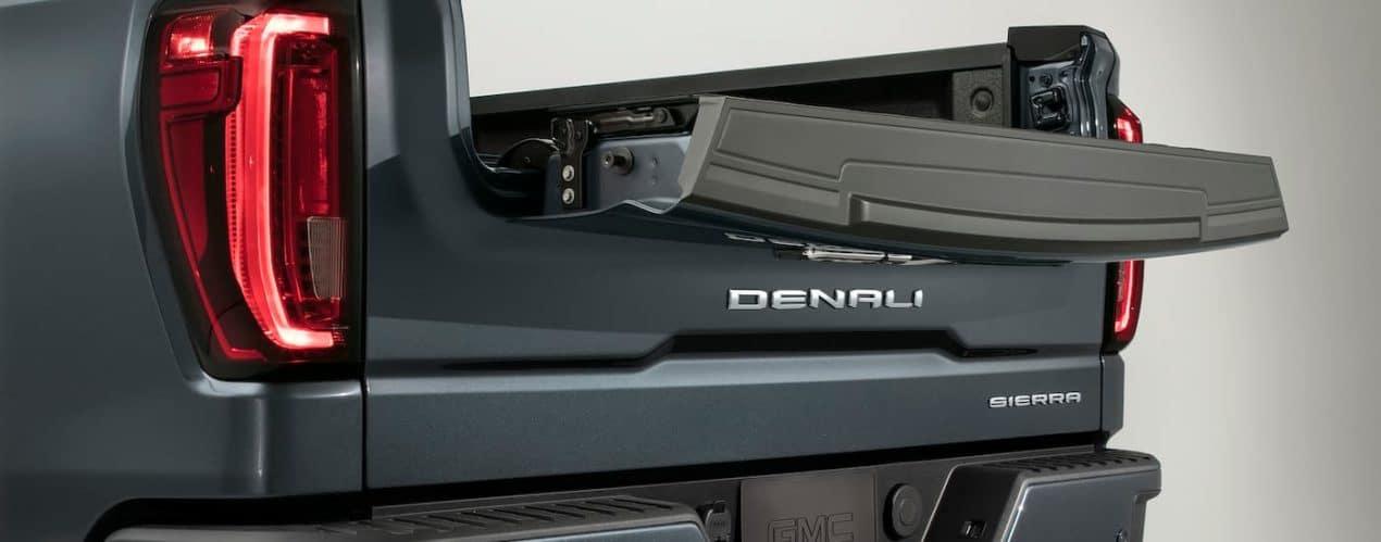 The MultiPro tailgate is shown on a blue 2021 GMC Sierra 1500 Denali.