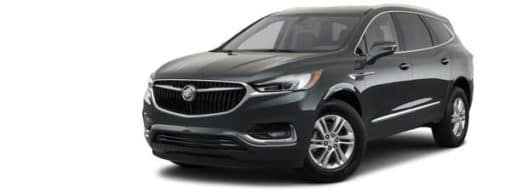A grey 2021 Buick Enclave Essence is angled left.
