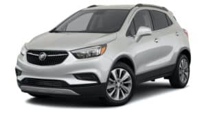 A silver 2022 Buick Encore Preferred is angled left.