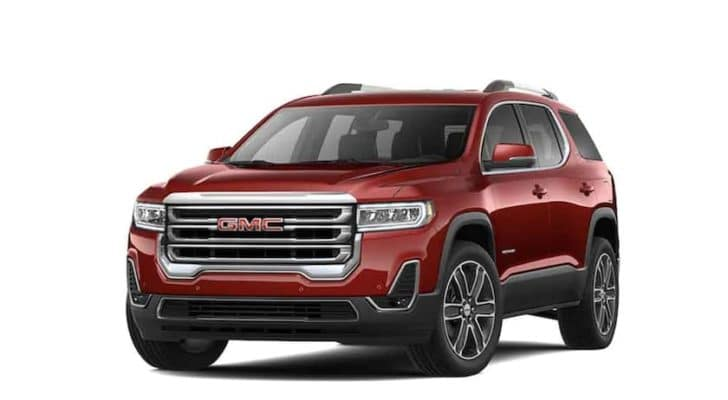 A red 2022 GMC Acadia is shown angled left.