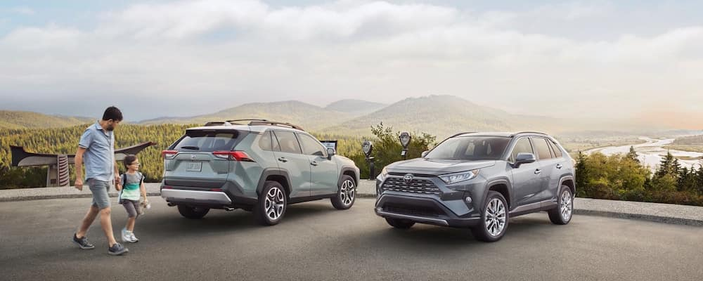 Two RAV4 SUVs parked with mountains in the distance