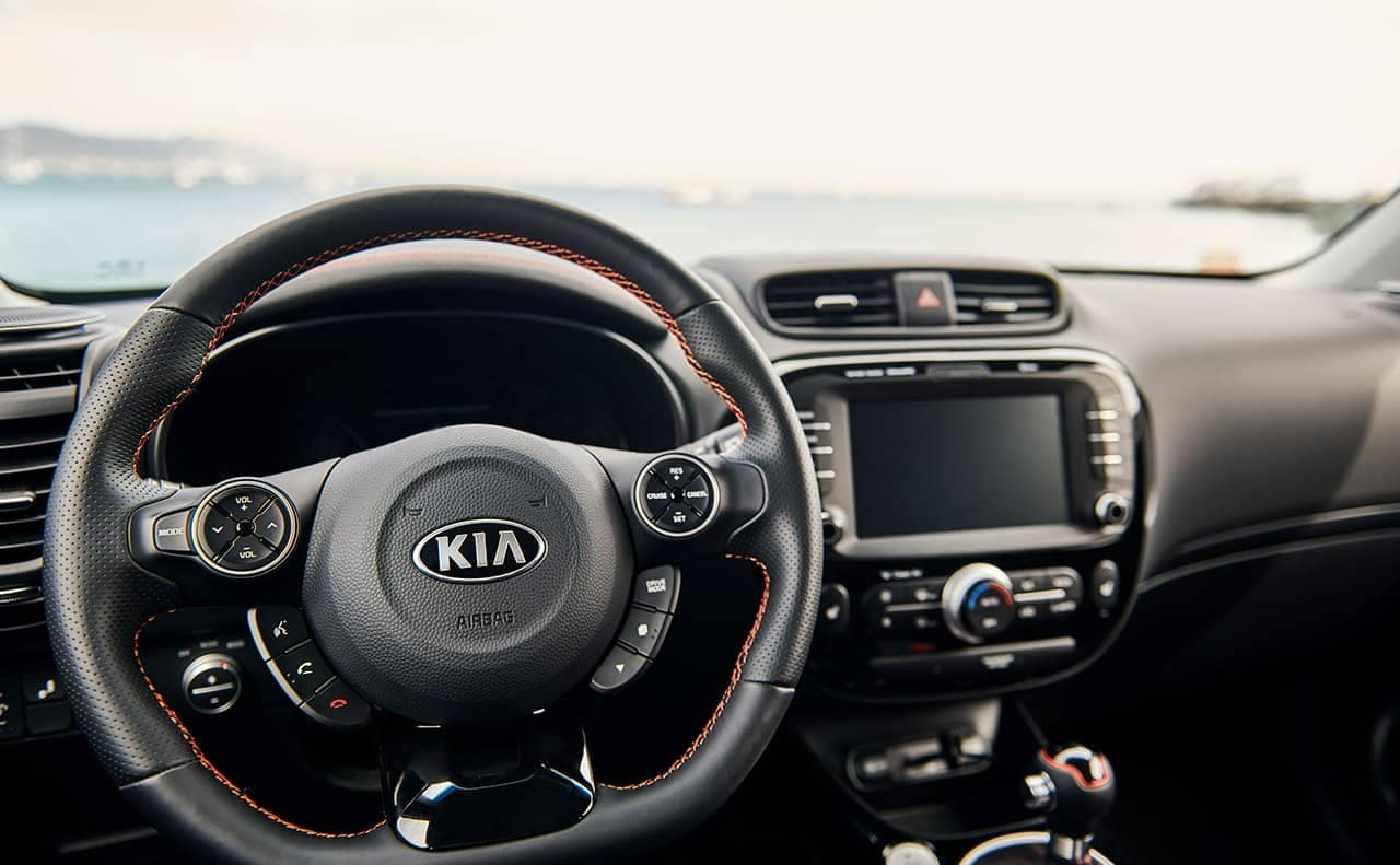 steering wheel and dash in 2019 Kia Soul