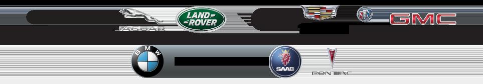 Lexus, Jaguar, Land Rover, MINI, Cadillac, Buick, GMC, Kia, BMW, Hummer, Saab, and Pontiac.
