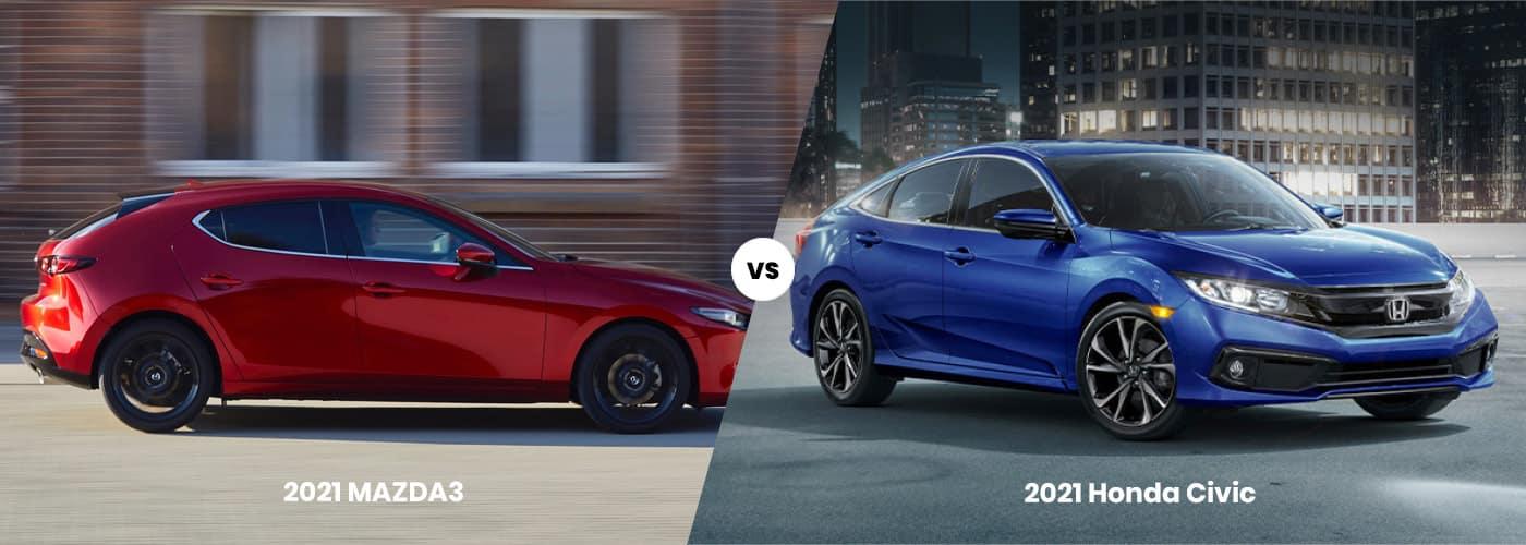 2021 MAZDA3 Hatchback vs. 2021 Honda Civic Hatchback