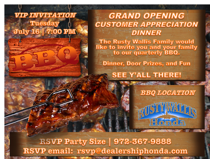 Grand Opening Customer Appreciation Event | Rusty Wallis Honda Dallas