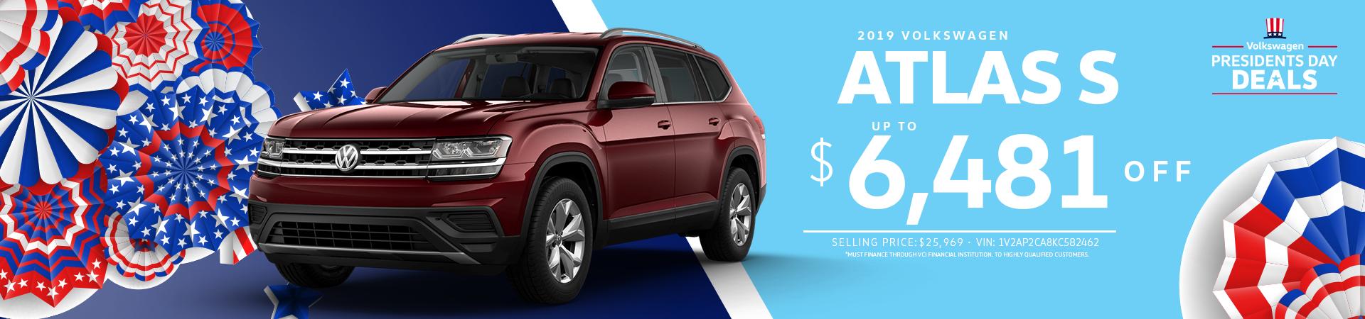 Up to $6481 off 2019 Volkswagen Atlas S