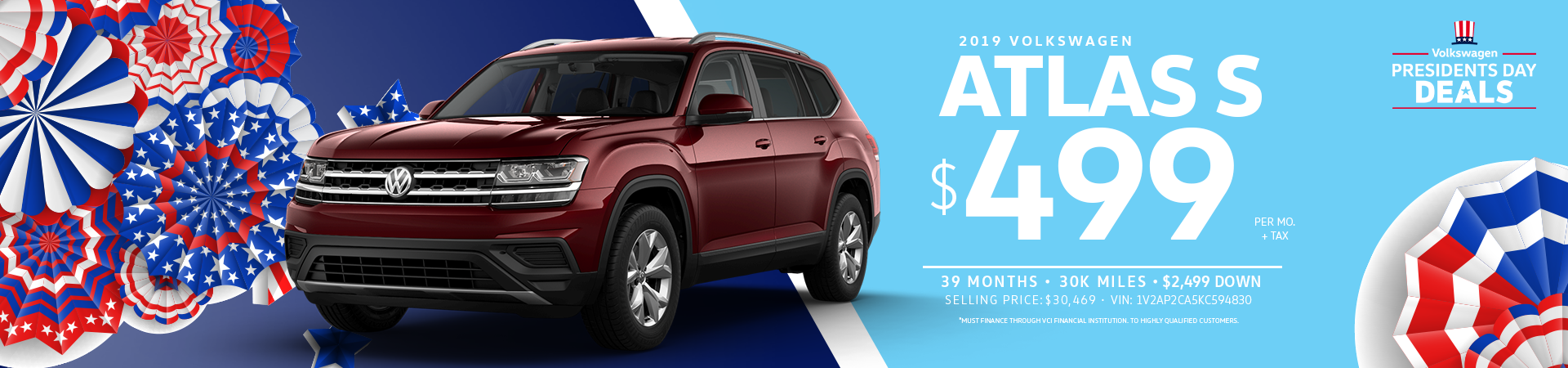 Lease a 2019 Atlas S for $499 a month