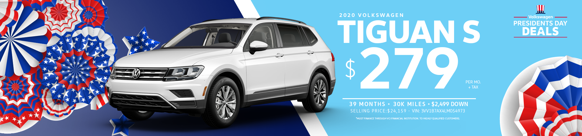 Lease a 2020 Tiguan S for $279 a month