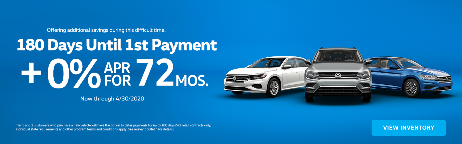 No Payments for 180 Days and 0% APR for 72 Months
