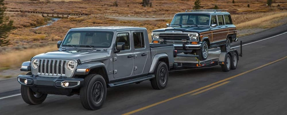 2020 Jeep Gladiator Towing a Station Wagon