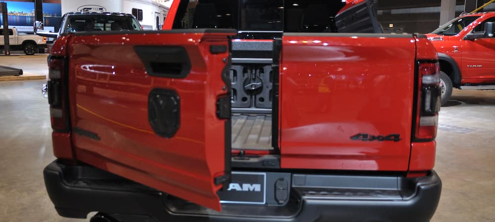 Close-up view of the 2019 RAM 1500 tailgate at the 2019 Chicago Auto Show.