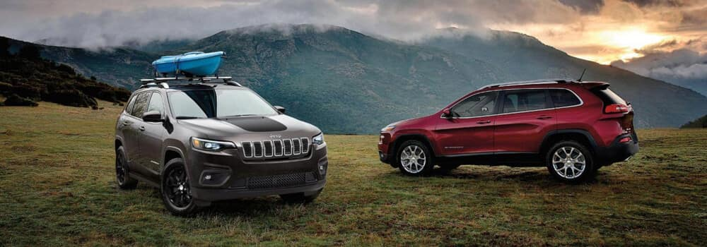 Two Jeep Cherokee in mountains