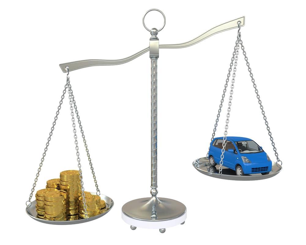 Car Balanced Against Coins on a Scale