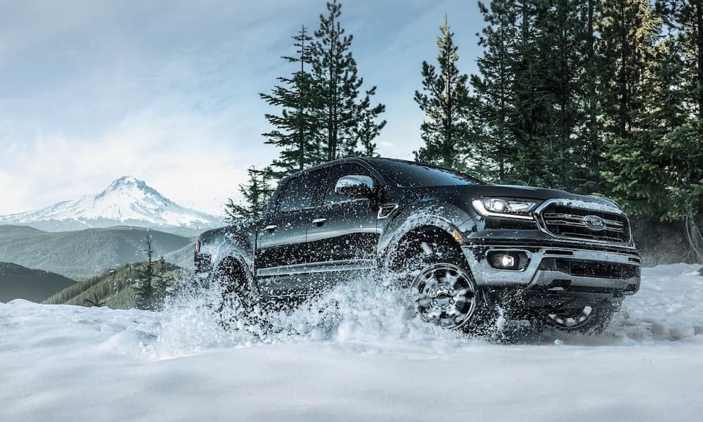 Black 2020 Ford Ranger on Snowy Road