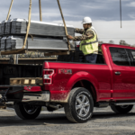 2020 Ford F-150 Magma Red trucked loaded by two construction workers