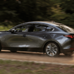 2020 Mazda3 driving fast on rural road