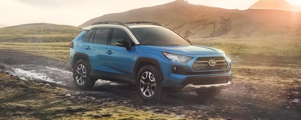 2019 Blue Toyota RAV4 in Mud