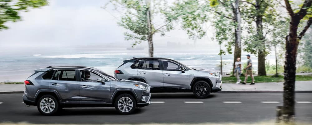 2021 Toyota Rav4 driving parallel to the beach