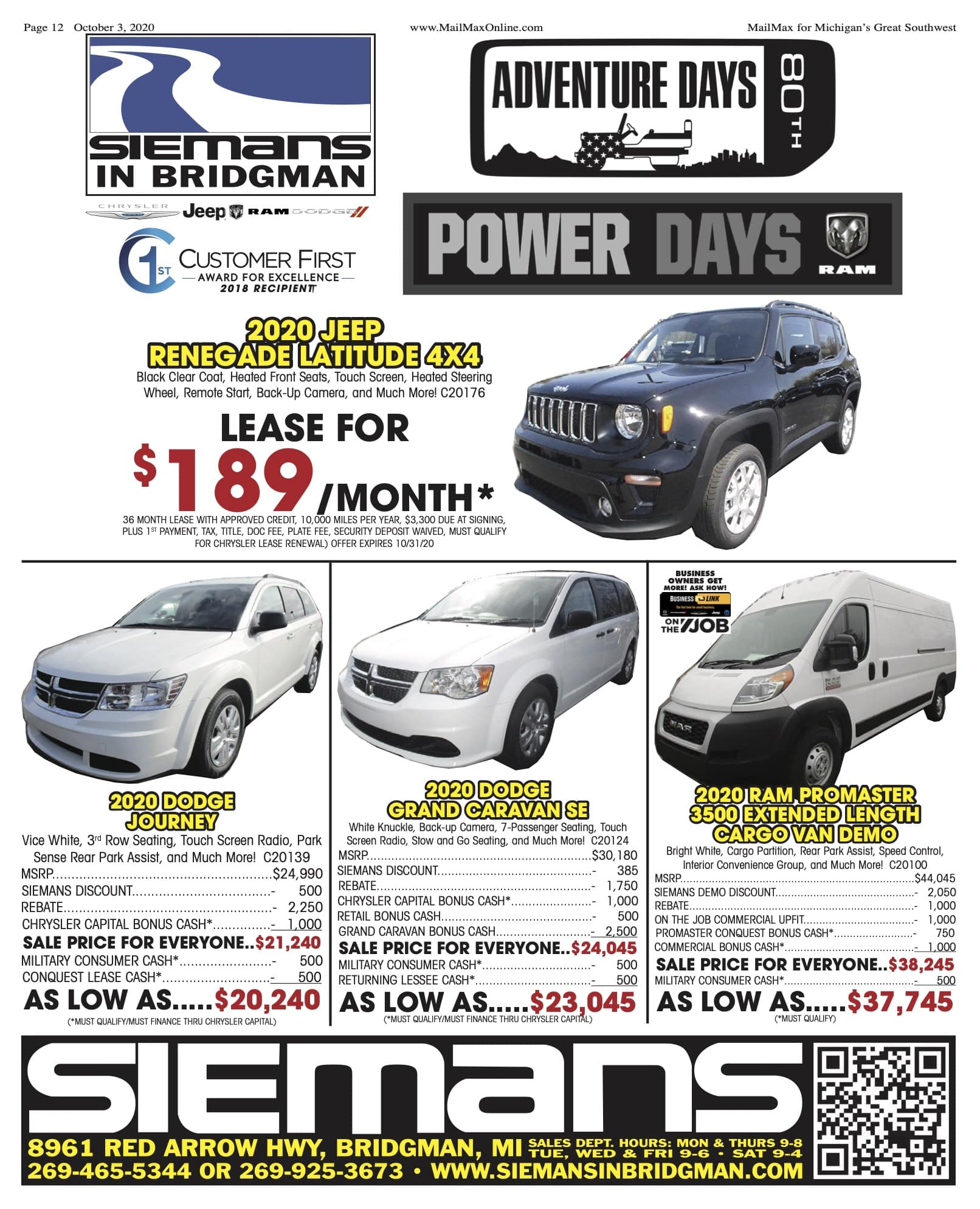 Newspaper Advertised Specials Siemans Chrysler Dodge Ram Jeep
