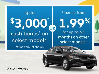 Up to $3,000 cash bonus on select models.