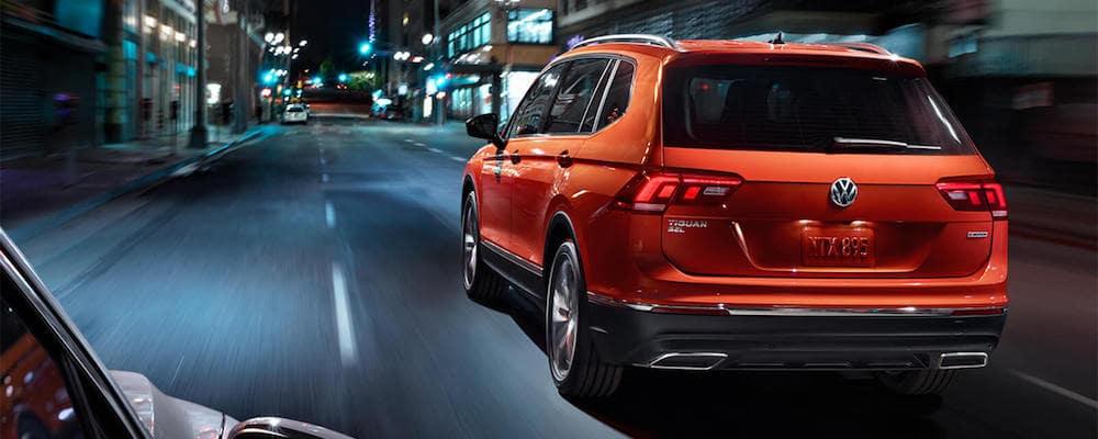 Orange 2019 Volkswagen Tiguan on City Street