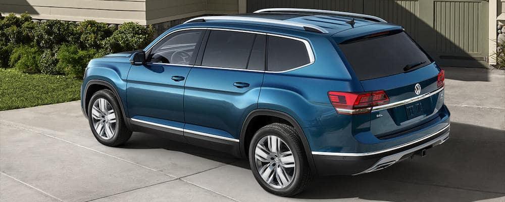 Blue 2019 Volkswagen Atlas in Driveway