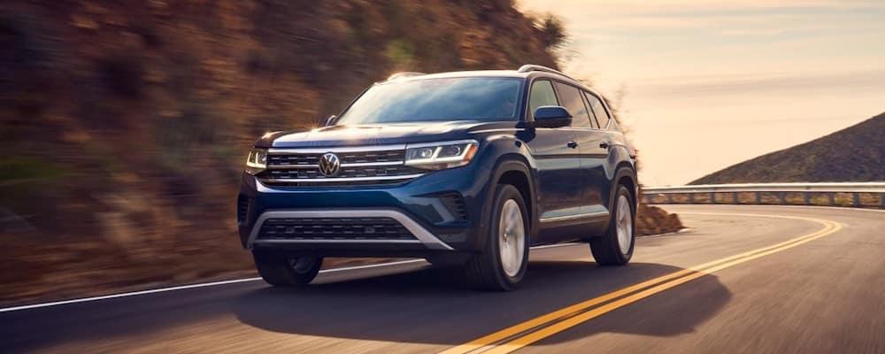Blue 2021 Volkswagen Atlas on Highway