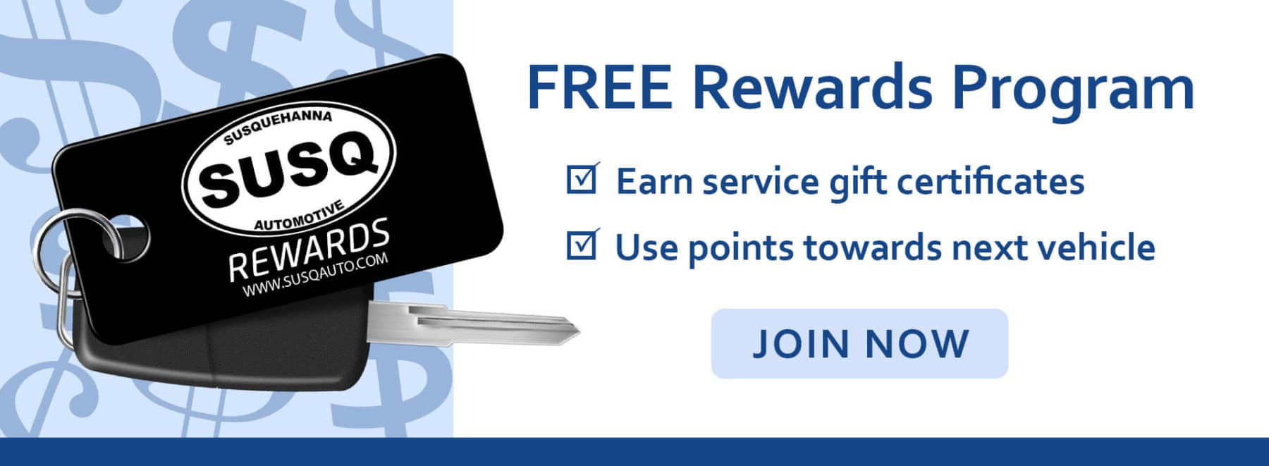Join our free rewards program! Earn points towards your next car purchase and extra service gift certificates.