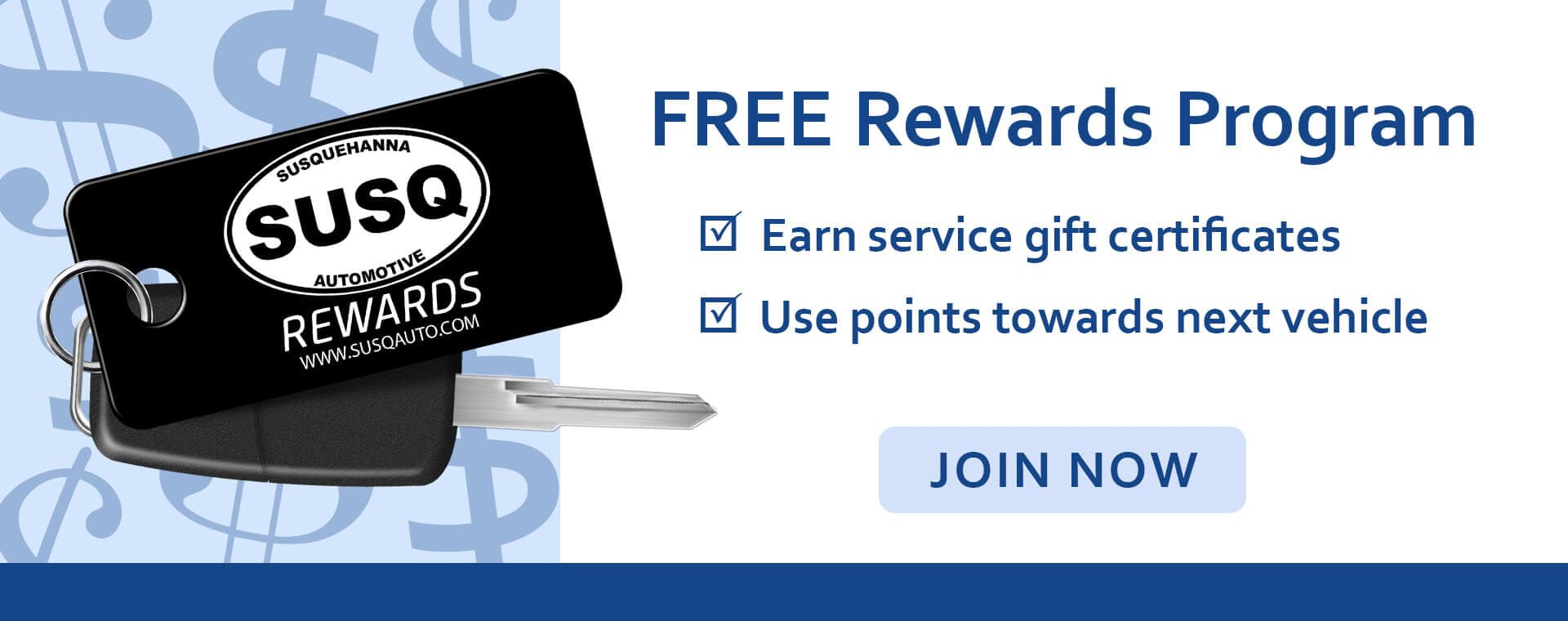 FREE REWARDS PROGRAM EARN SERVICE GIFT CERTIFICATES - USE POINTS TOWARDS NEXT VEHICLE JOIN NOW