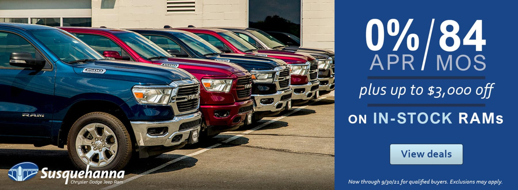 0apr for 84mos + up to $3,000 in-stock RAMs!