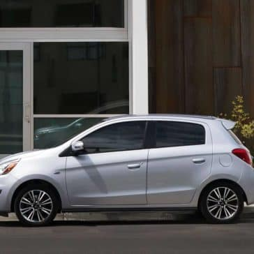 2019-Mitsubishi-Mirage-in-starlight-silver-parked