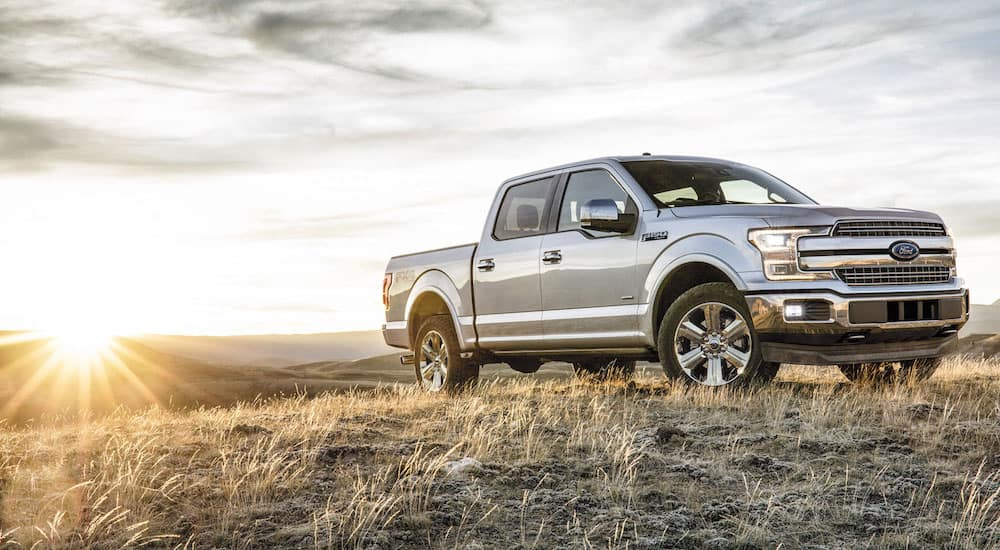 Silver 2018 Ford F150 on Hill with Illinois Sunset