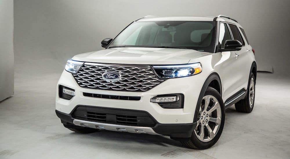 A white 2020 Ford Explorer, just recently announced.