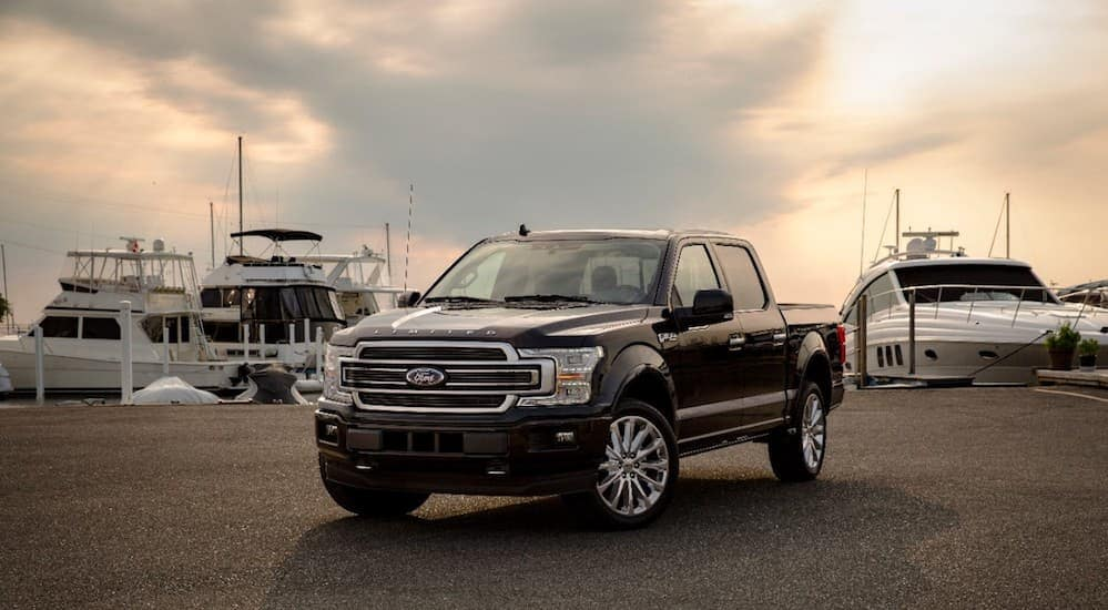 A black 2019 Ford F-150 Limited is parked in front of boats.