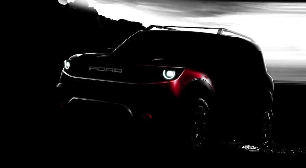 A very dimly lit concept of the 2020 Ford Bronco is shown.