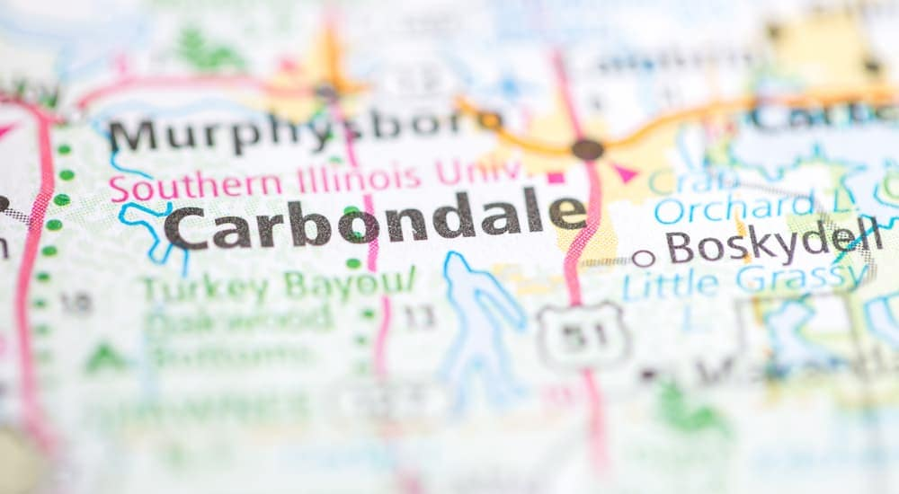 Carbondale, IL is shown on a map, which is where the Vogler Ford dealership is located.